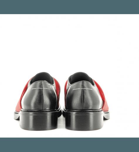 Derbies en cuir noir et rouge à semelles épaisses S59WQ0052/962- MM6 Martin Margiela
