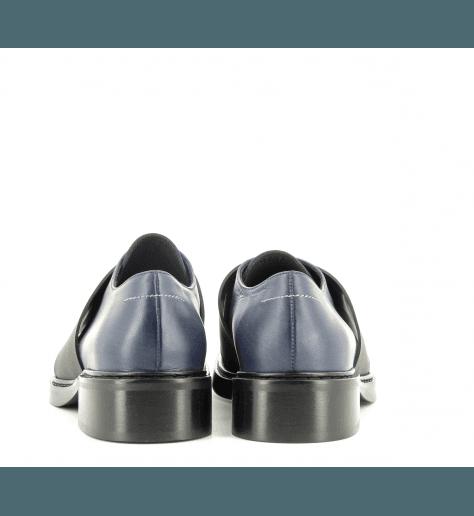 Derbies en cuir noir et bleu à semelles épaisses S59WQ0052/961- MM6 Martin Margiela