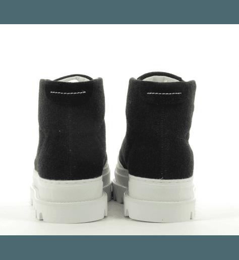 Sneakers montante en cuir noir  à semelles épaisses S40WS0102- MM6 Martin Margiela