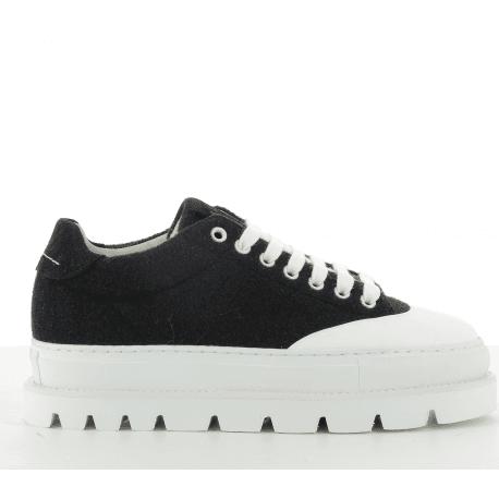 Sneakers basses en cuir noir  à semelles épaisses S40WS0101- MM6 Martin Margiela