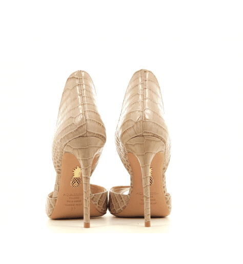Escarpin bout ouvert en cuir nude CONCORDE PEEPTOE - Aquazzura
