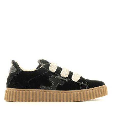 Sneakers en velours vert et scratch dorés MADISON GREEN - Serafini