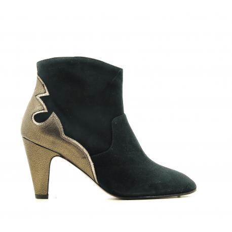 Bottines à talon moyen en daim vert VIVIAN - New Lovers shoes