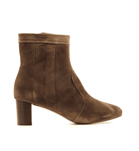 Bottines à talon en veau velours camel DAGMAR2 - New Lovers shoes