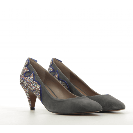 Escarpin à talon en veau velours gris et flamme gliter TACY - New Lovers shoes