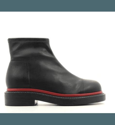 Bottines plates en cuir stretch noir QUIENN 326 - GreyMer