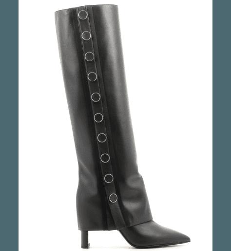 Bottes / Boots à guêtre amovible en cuir noir JODI 106 - GreyMer