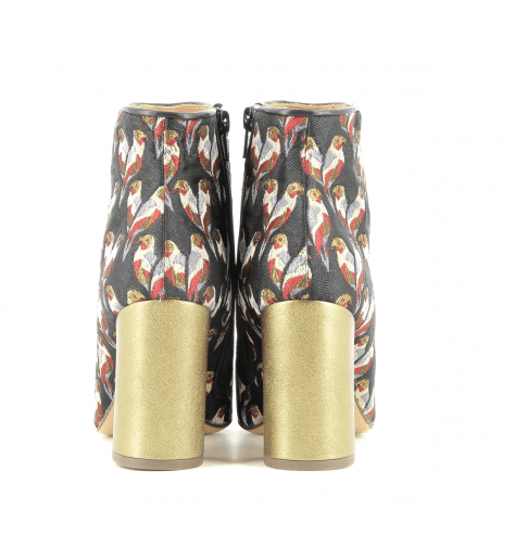Bottines à talons Noir&Or motif perroquet ISHY - Chie Mihara
