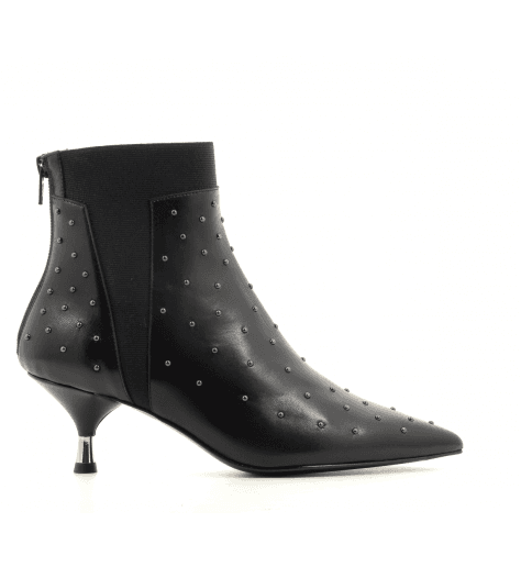 Bottines petits talons en cuir vinyle noir AR109N - Garrice Collection