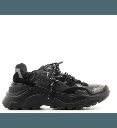Sneakers noires à semelle débordante noir 1931N - Lemaré