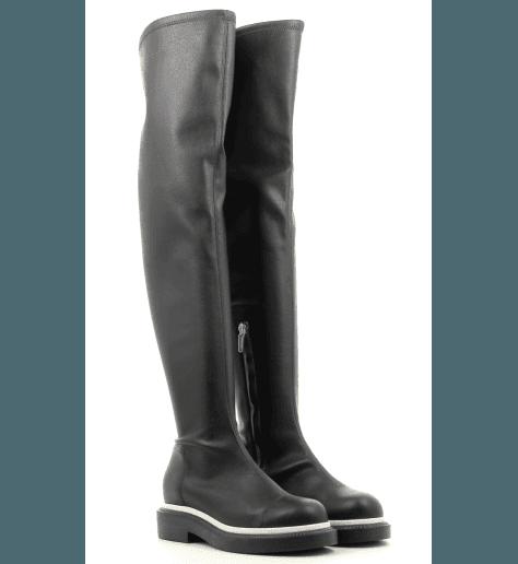 Cuissardes plates en cuir noir avec liseré blanc QUEEN 118.020 - GreyMer