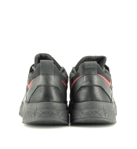 Sneakers en cuir noir et rouge KOMRAD 11943- Crime London