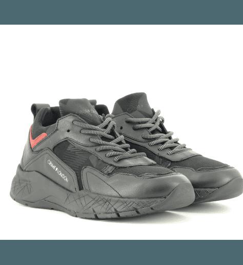 Sneakers en cuir noir et rouge KOMRAD 11943- Crime London