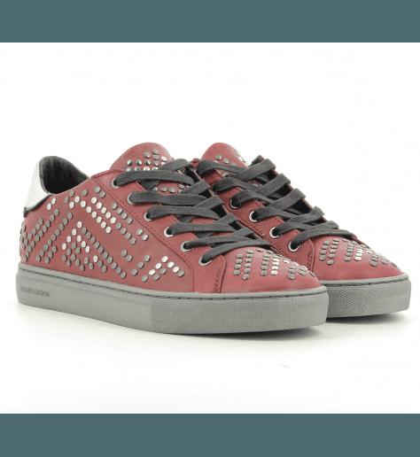 Sneakers  en cuir bordeaux  BEAT 25124 - Crime London