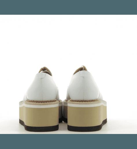 Derbies creepers à semelle épaisse en cuir blanc BARBARA - Clergerie