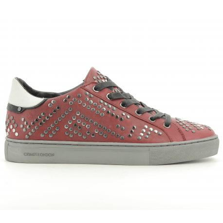 Sneakers à clous en cuir rouge bordeaux  BEAT 25124 - Crime London