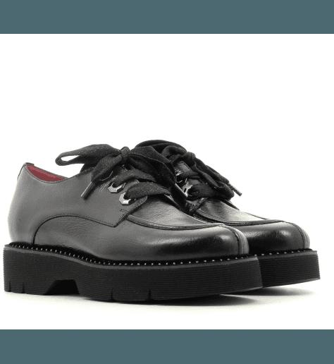 Derbies en cuir noir et semelle épaisse BLOO237 - Alberto Gozzi