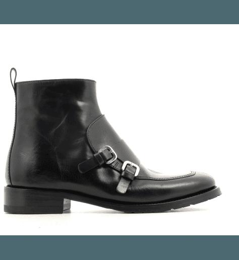 Bottine plates en cuir noir et boucles Henderson shoes - 22D02