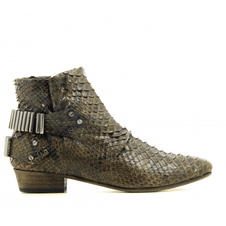 Bottines en python khaki Fury London - LO KHAKI