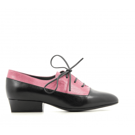 Derbies à petit talon en cuir noir et rose Marc Jacobs - COLOR BLOCK OXFORD