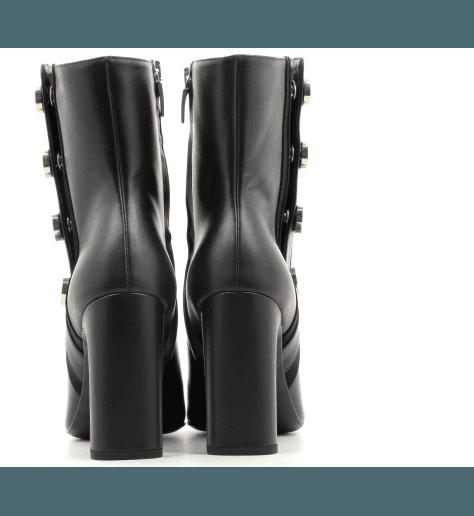 Bottines à tige tubulaire en cuir noir et talon haut Grey Mer - 306