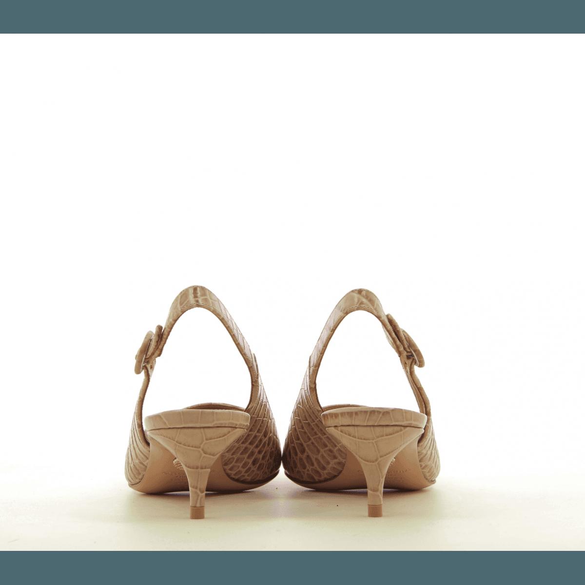 Escarpins petit talon en cuir nude PURE SLING45 - Aquazzura