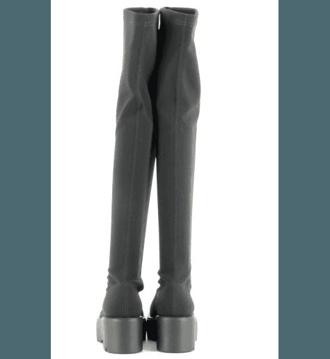 Bottes genouillères à semelle épaisse et stretch noir strategia jfk P2566 - Garrice Collection