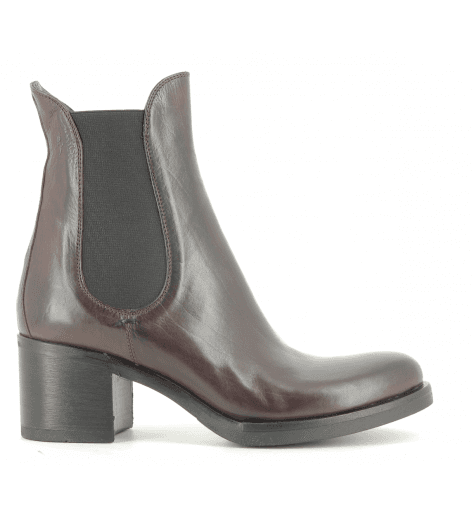 Bottines talon en cuir bordeau 4820BORD- Garrice Collection