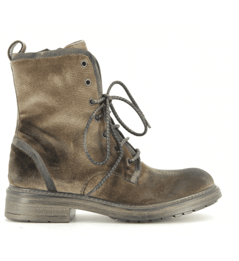 Bottines plates en velours taupe patiné fruit now 4837T - Garrice Collection