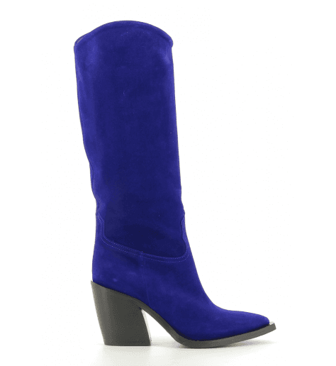 Bottes Santiags en veau velours bleu roi  fruit now 4982 - Garrice Collection