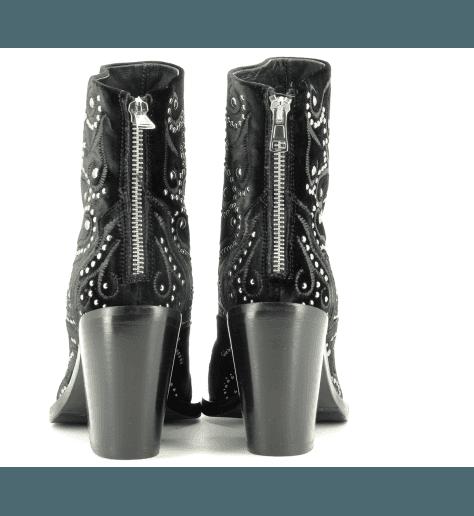 Bottines à talon en velour noir strassé fruit now 4984T - Garrice Collection