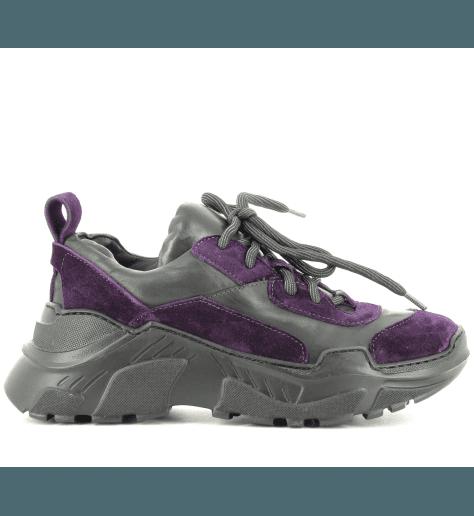 Sneakersà semelle débordante en cuir noir et violet fruit now 5243 - Garrice Collection