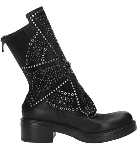 Biker boots en cuir noir clouté Elena Iachi - E1781