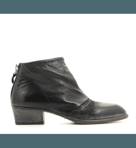 Bottines courtes en cuir noir Moma pour femmes - 83805