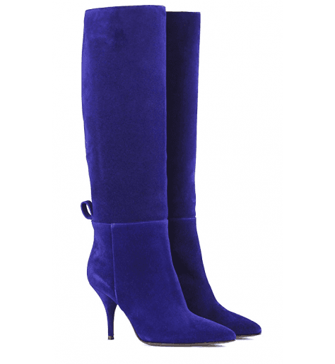 Bottes pointues en veau velour bleu roi et talon aiguille L'autre Chose - LDH001