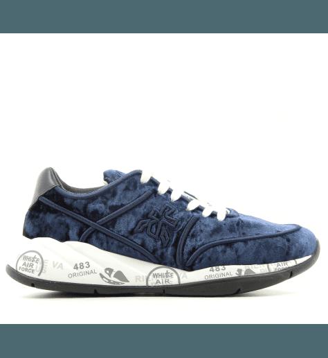 Baskets en velour bleu marine à semelles épaisses PREMIATA - LIU 3495