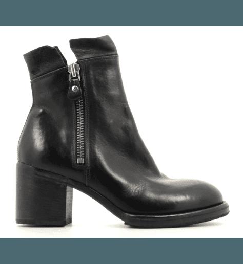 Boots rock en cuir noir à talons épais MOMA  shoes- 89801