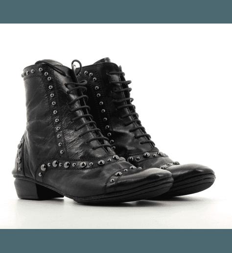 Bottines souples en cuir noir 823105- Garrice Collection