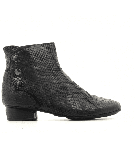 Bottines en cuir estampillée noir 823204N- Garrice Collection