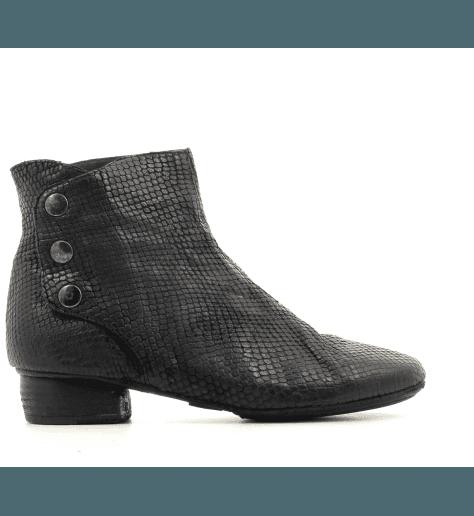 Bottines en cuir estampillée noir 823204N- Garrice Collection