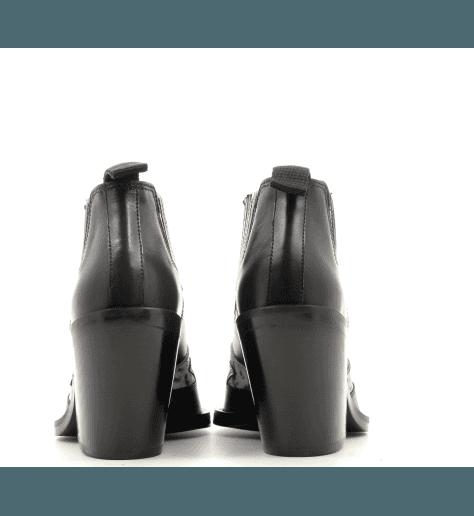 Boots courte style santiag en cuir noir Garrice Collection - lemare BR308N