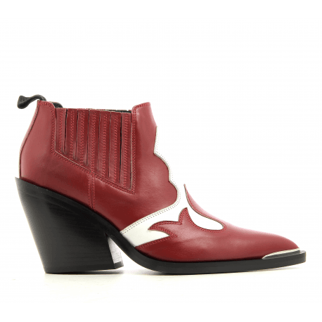 Boots courte style santiag en cuir rouge Garrice Collection - lemare BR308R