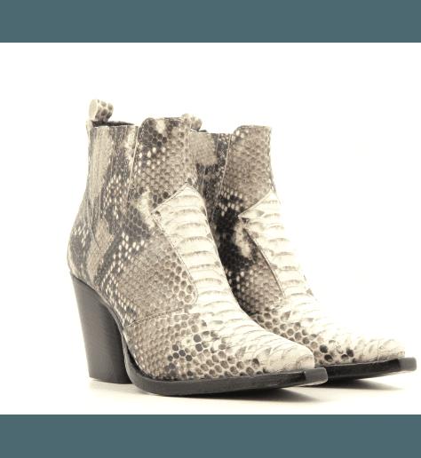 Boots courte style santiag en cuir estampillé python 1979- Garrice Collection