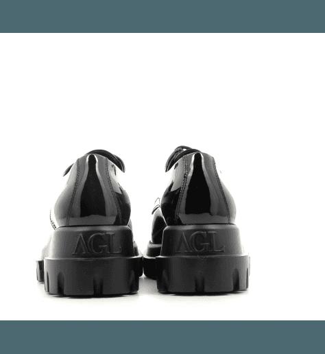 Derbies à semelle épaisse en cuir verni noir AGL- D756002