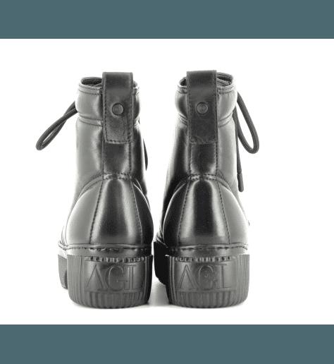 Bottines à semelle épaisse en cuir noir AGL- D925517N