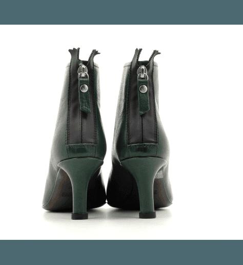 Bottines pointues en cuir vert AGL - D239501