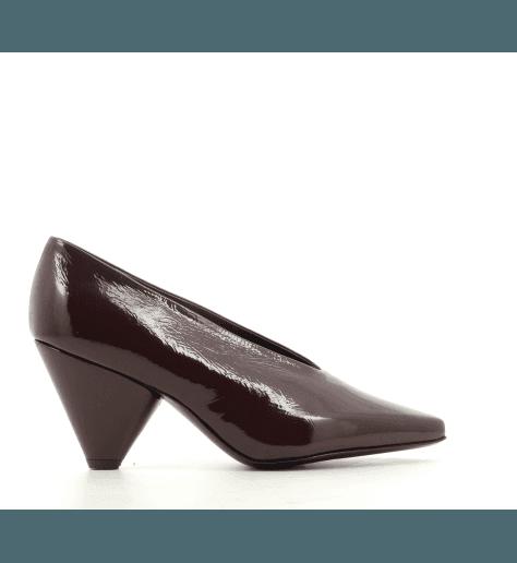 Escarpin à talon en cuir lisse bordeaux découpe rétro Premiata - M4924b