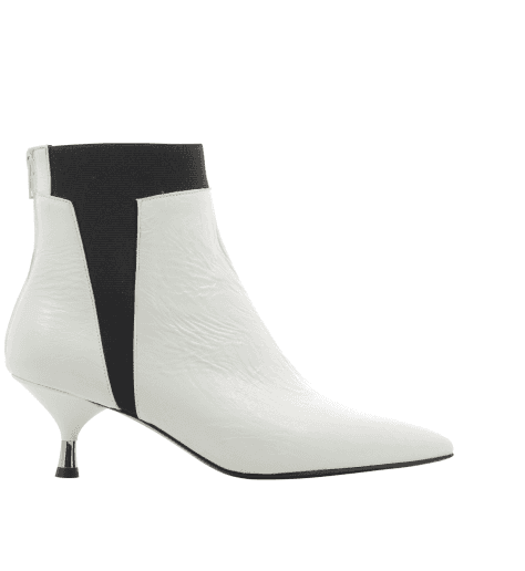 Bottines petits talons en cuir vinyle blanc AR109B - Garrice Collection