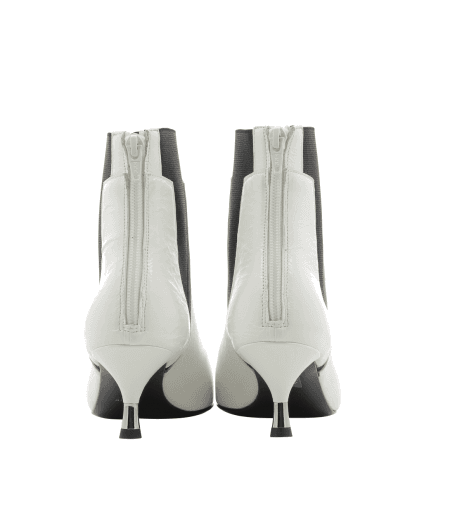 Bottines petits talons en cuir vinyle blanc AR109B - Garrice Collection
