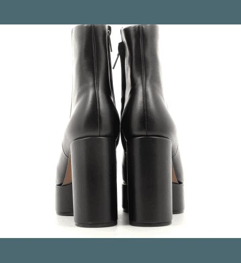 Bottines compensées en cuir noir BELEN- Robert Clergerie